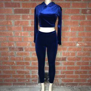 Fashion Nova Pants - Blue Velvet Track Set With Hoodie
